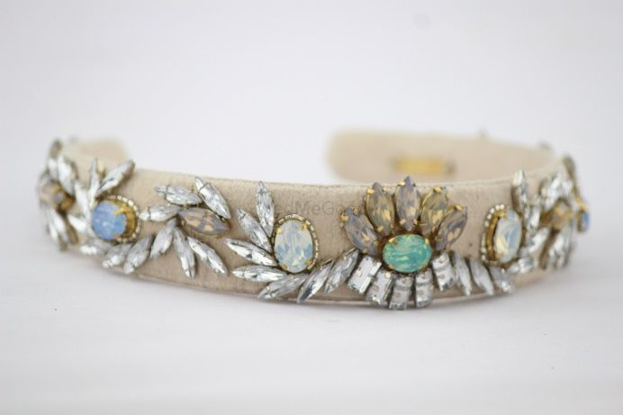 Photo of grey and mint hairband with jewel detailing