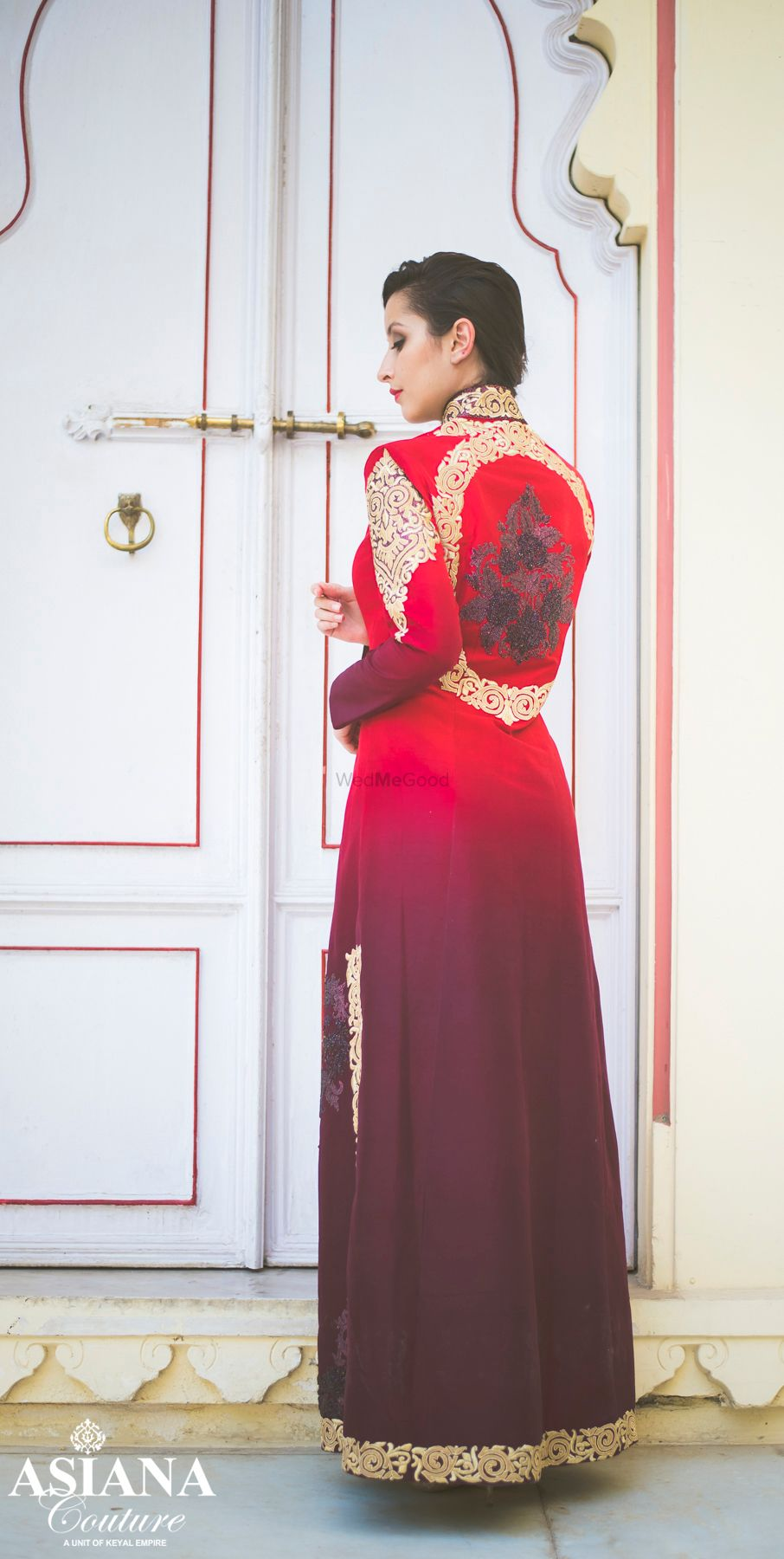 Photo of Ombre wine and red shaded straight kurta with cigarette pants