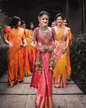 A south indian bride in Kanjeevaram saree