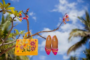 Customised bridal shoes and bag for mehendi