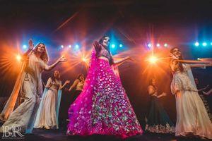 Sangeet dance with dancing bridesmaids