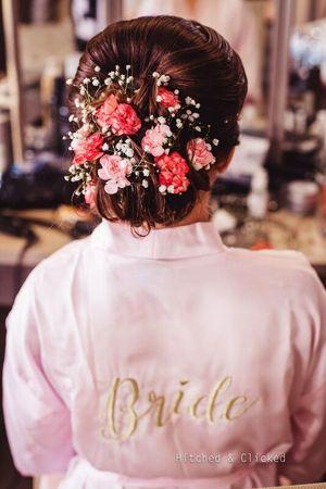 Bridal bun robe small flowers