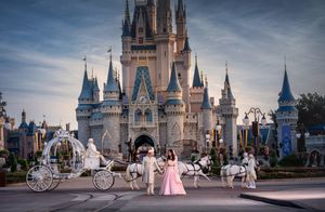 Indian bride and groom pose at Disney World Orlando for their wedding