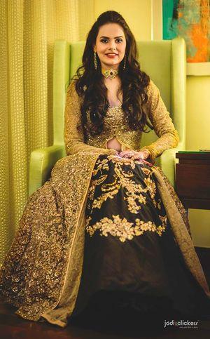 Stunning black and golden anarkali for sangeet