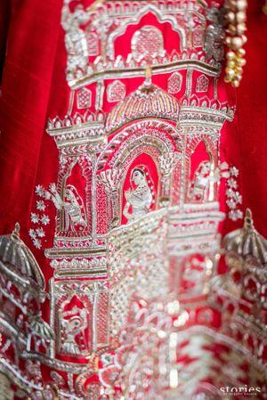 Unique bridal lehenga with palki design embroidery
