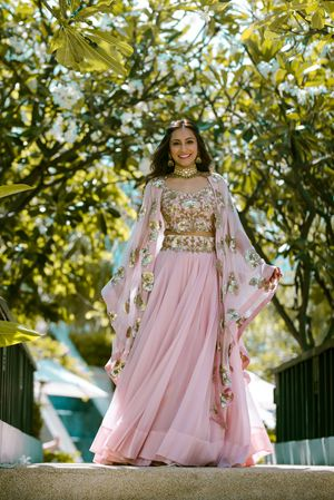 Indo western mehendi outfit with cape jacket