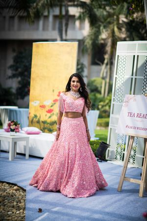 Light pink engagement lehenga with sequins