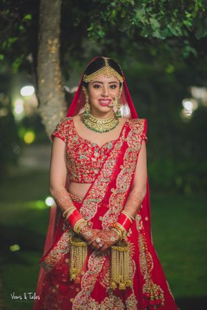 Red embroidered lehenga with blue threadwork