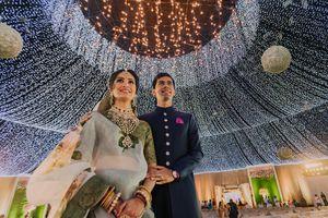 Sangeet decor and couple shot