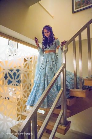 Light blue monotone lehenga for engagement