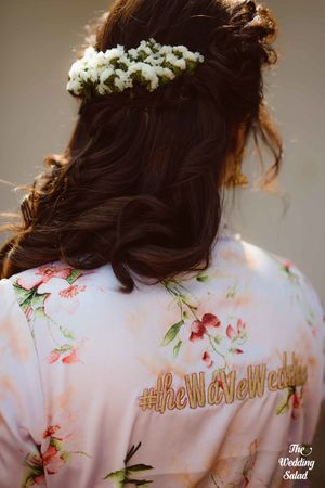 Cute bridal robe with wedding hashtag