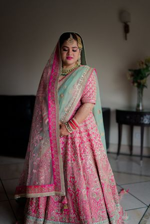 Stunning light pink lehenga for wedding