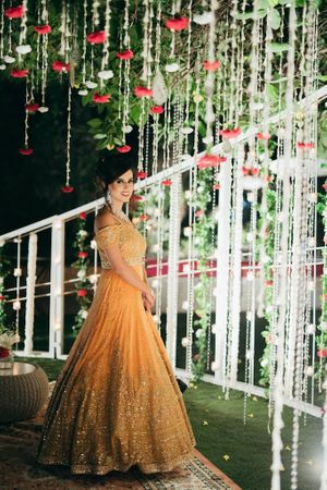 Orange evening gown for reception