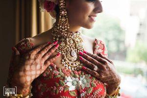 Unique bridal necklace with polki