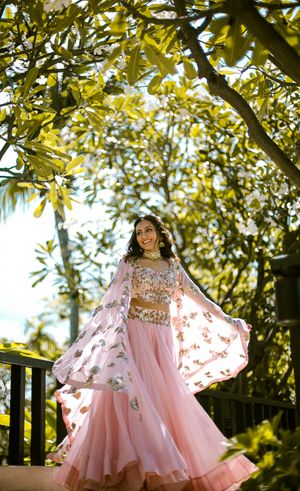 Light pink Indo western mehendi outfit with cape jacket