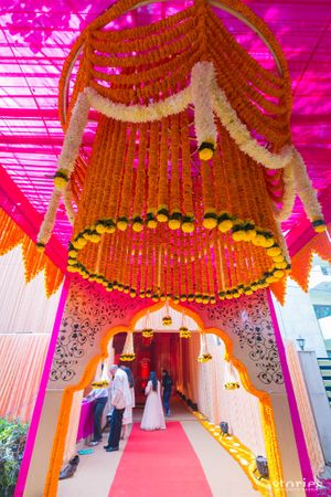 Entrance decor with floral chandelier