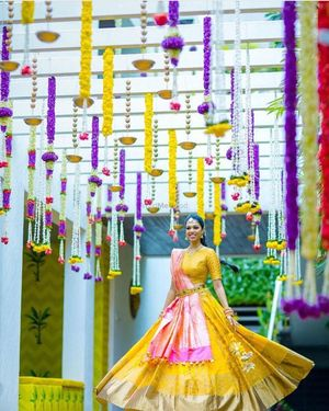 Kanjivaram lehenga in yellow and pink with waistbelt