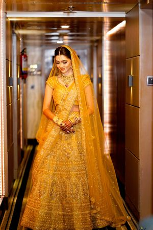Orange offbeat bridal lehenga colour