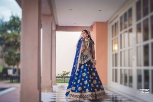 Offbeat bridal lehenga in blue Sabyasachi