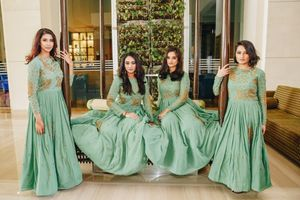 Coordinated bridesmaids in green anarkalis