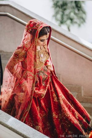 Offbeat red bridal lehenga burnt Sienna