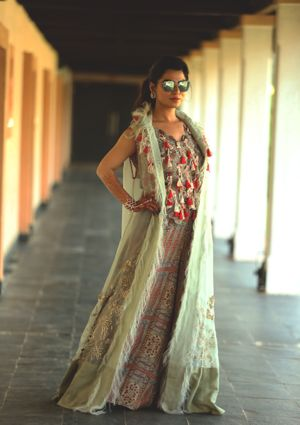 Indo western outfit for mehendi with tassels