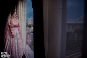 Gorgeous pink and silver bridal lehenga for wedding
