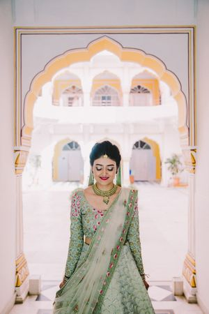 Mint green bridal lehenga offbeat colour