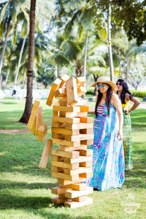 Giant jenga idea for backyard engagement