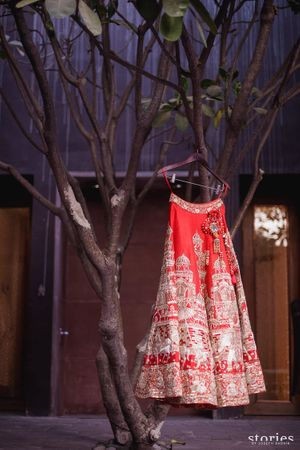 Bridal lehenga with unique embroidery on hanger