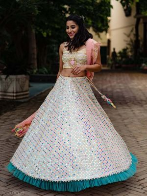 Mehendi or engagement lehenga with ruffled border
