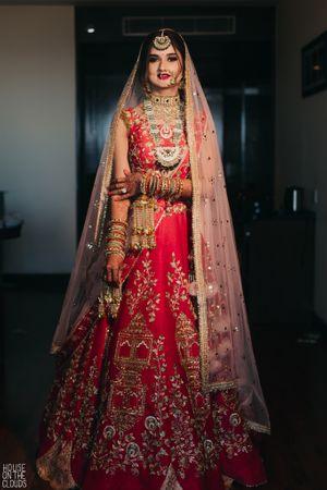 Summer bridal lehenga in red