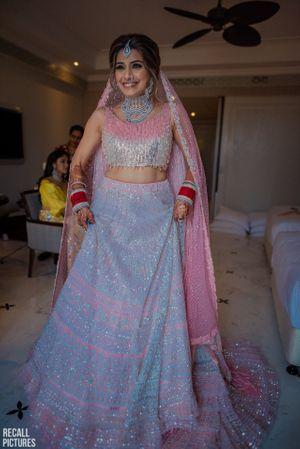 Pretty pink and silver bridal lehenga for wedding