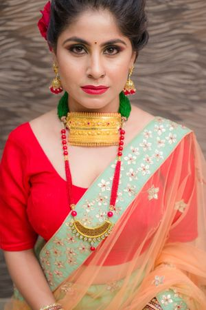 Unique bridal gold choker and long  red necklace
