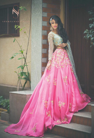 Girly lehenga in pink and turquoise