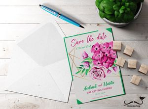 Floral modern save the date card