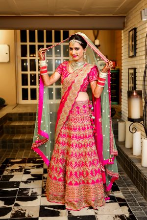 Pink and mint green Bridal lehenga