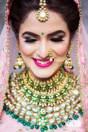 Statement bridal Kundan necklace with green beads