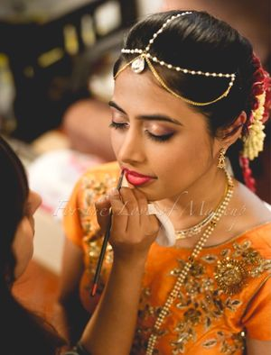 South Indian bridal makeup with nude glossy eyes