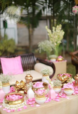 beautiful lotus themed decor with pickle jars