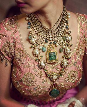 Stunning jadau and polki necklace for bride to be