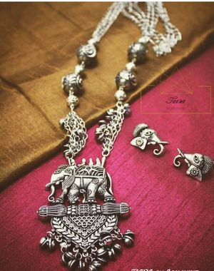 Silver necklace for mehendi with elephant motif