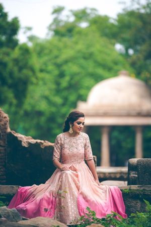Pink ombre Anarkali with sequin work for engagement