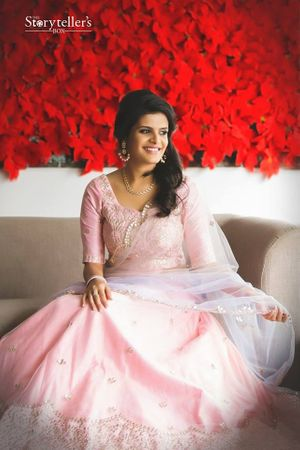 Engagement lehenga in light pink and lavender