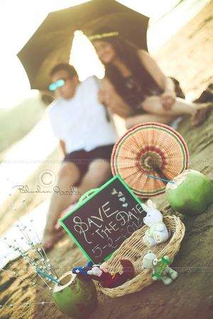 Beach theme save the date invite with props