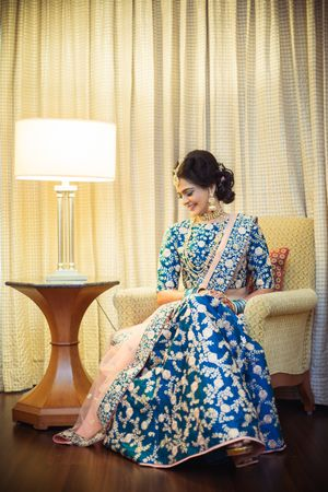 Blue and peach lehenga