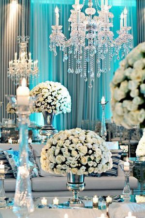 Pretty white roses as table centerpiece