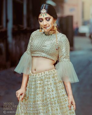 Beautiful light green bridal lehenga with frill sleeves