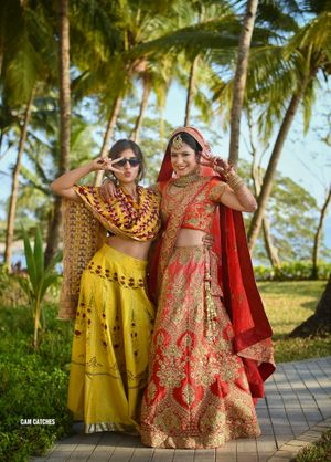 Bride with sister on wedding day