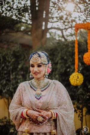Bridal necklace and jhoomer two toned